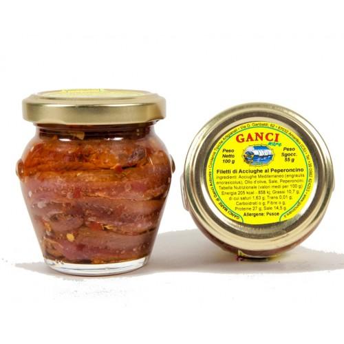 Filetti di Acciughe al Peperoncino gr. 100