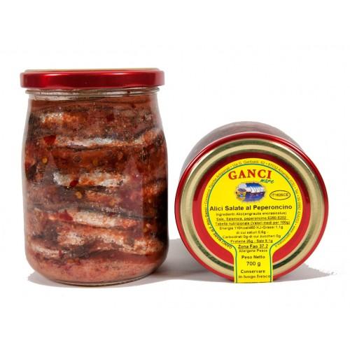 Alici Salate al Peperoncino gr.700