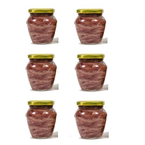 6 Vasi Filetti di Acciughe in olio gr. 220