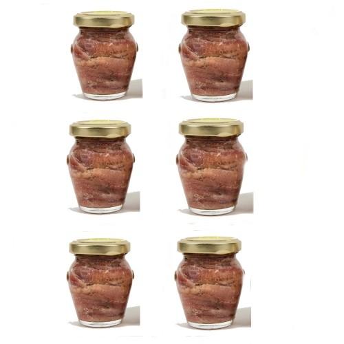 6 Vasi Filetti di Acciughe in olio gr. 100