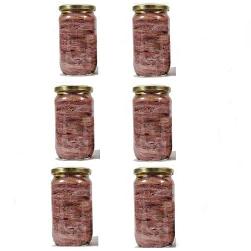 6 Vasi Filetti di Acciughe in olio gr.750